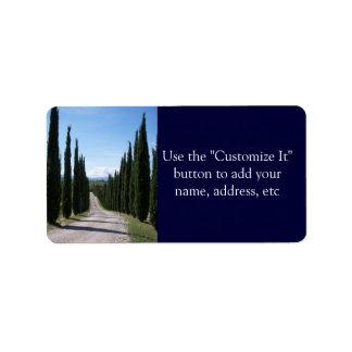 Beautiful Tuscan Cypress Label
