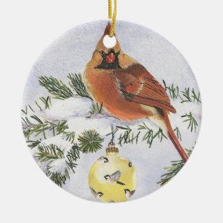 Beautiful two sided cardinal ornament
