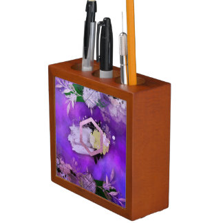 beautiful, ultra violet, abstract,collage,silver,f desk organizer