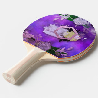 beautiful, ultra violet, abstract,collage,silver,f ping pong paddle