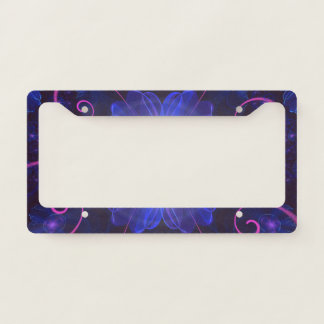 Beautiful Ultra Violet Fractal Nightshade Flower License Plate Frame