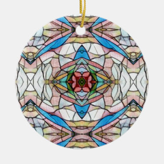 Beautiful Uncommon Artistic Stained Glass Pattern Round Ceramic Ornament
