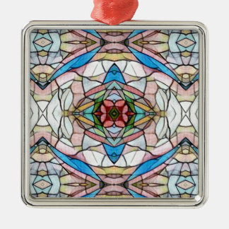 Beautiful Uncommon Artistic Stained Glass Pattern Silver-Colored Square Ornament