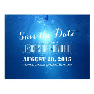 Beautiful Under Sea Blue Wedding Save the Date Postcard