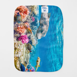 beautiful underwater fish world, wather shower cur burp cloth