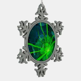 Beautiful Underwater Fractal Flower of Atlantis Snowflake Pewter Christmas Ornament