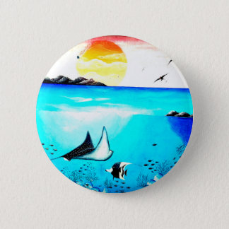 Beautiful Underwater Scene Painting 2 Inch Round Button