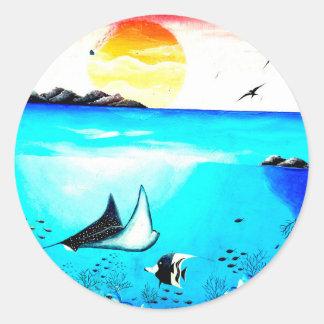 Beautiful Underwater Scene Painting Classic Round Sticker