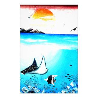 Beautiful Underwater Scene Painting Customized Stationery