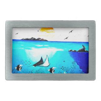 Beautiful Underwater Scene Painting Rectangular Belt Buckle