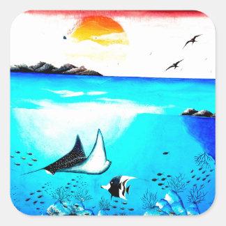 Beautiful Underwater Scene Painting Square Sticker