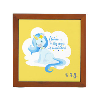 Beautiful Unicorn believe in possibilities Desk Organizer