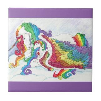 Beautiful Unicorn & Rainbows Mother & Baby Pegasus Tile
