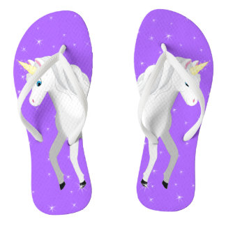 Beautiful Unicorn with Purple Starry Sky Flip Flops