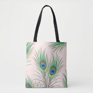 Beautiful Unique Peacock Feathers Pattern Tote Bag