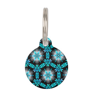 Beautiful Unique Teal Geometric Snowflake Pattern Pet Name Tag