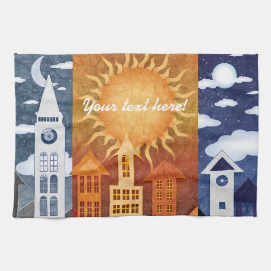 Beautiful Uptown Urban Cityscape illustration Hand Towels