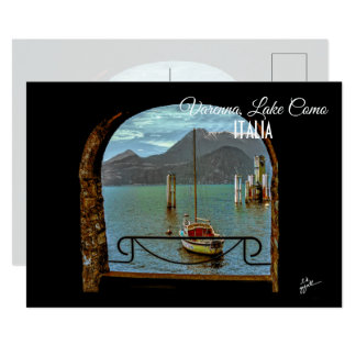 Beautiful Varenna Italy Boat Photo Postcard
