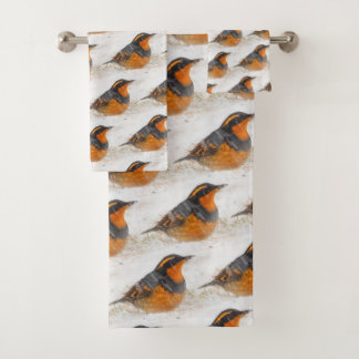 Beautiful Varied Thrush on a Snowy Winter's Day Bath Towel Set