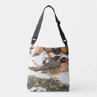 Beautiful Varied Thrush on the Snowy Ground Crossbody Bag