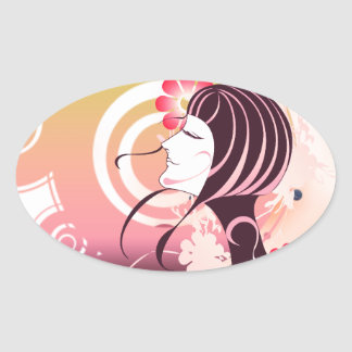 Beautiful  vector scene oval sticker
