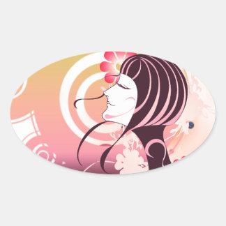 Beautiful  vector scene oval sticker