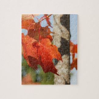 Beautiful Vibrant Orange Fall Leaves on a Tree Jigsaw Puzzle