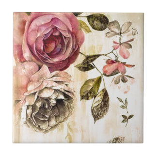 Beautiful Victorian Floral Painting Tiles