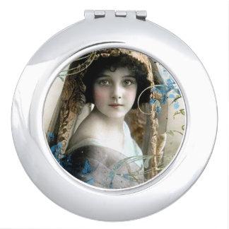 Beautiful Victorian Girl Vintage Illustration Travel Mirrors