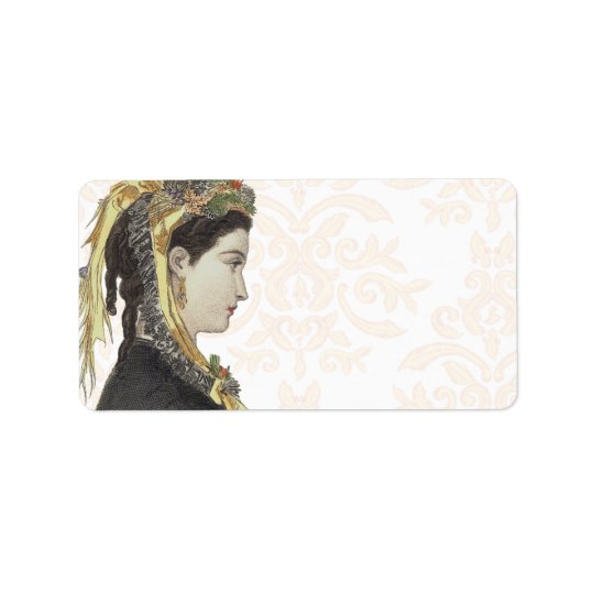 Beautiful Victorian Lady in Profile Damask Back