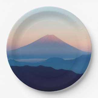 Beautiful view Mt. Fuji, Japan, Sunrise 9 Inch Paper Plate