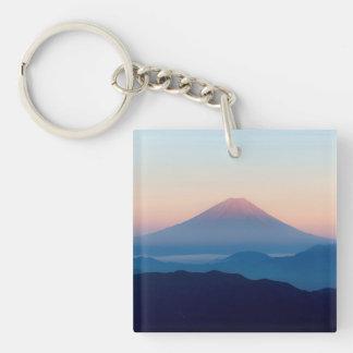Beautiful view Mt. Fuji, Japan, Sunrise Double-Sided Square Acrylic Keychain