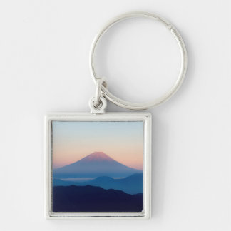 Beautiful view Mt. Fuji, Japan, Sunrise Silver-Colored Square Keychain