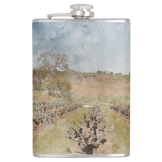 Beautiful Vineyard in Spring Flask