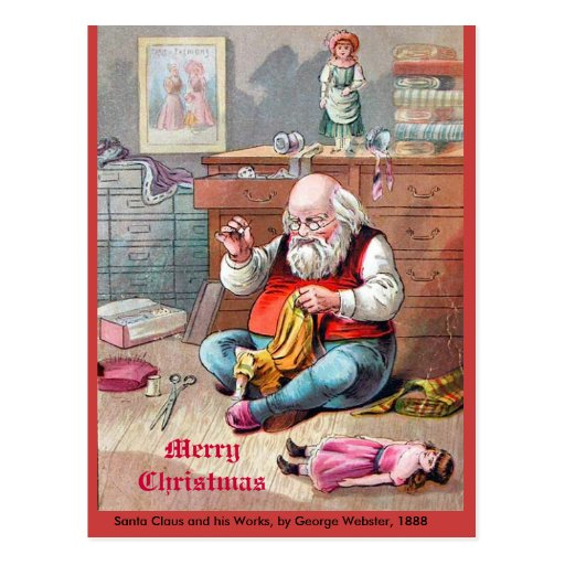 Beautiful Vintage 1888 Santa Claus Sewing Dolls Postcard