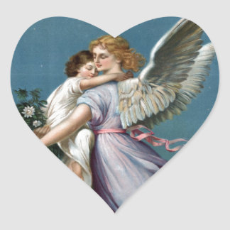 Beautiful Vintage Angel and Child Heavens Art Heart Stickers