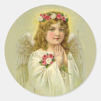 Beautiful Vintage Angel Praying Rosary Classic Round Sticker