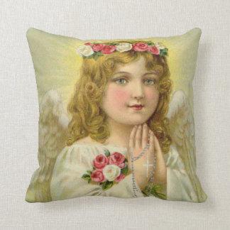 Beautiful Vintage Angel Praying Rosary Throw Pillow