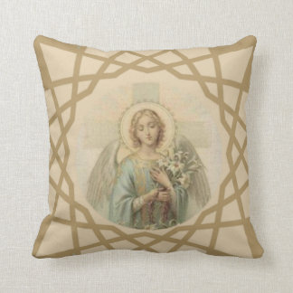Beautiful vintage angel with cross holding lilies throw pillow
