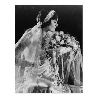 Beautiful Vintage Bride Postcard