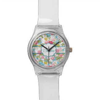 Beautiful vintage chic trendy roses floral pattern wristwatch