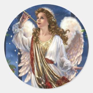 Beautiful Vintage Christmas Angel Classic Round Sticker