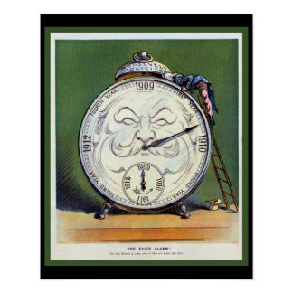 Beautiful Vintage Clock Poster 1909 Politics Humor
