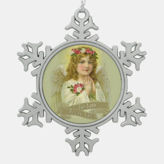 Beautiful Vintage Floral Angel with verse Snowflake Pewter Christmas Ornament