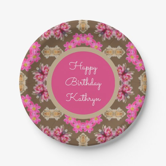 Beautiful Vintage Floral Birthday 7 Inch Paper Plate