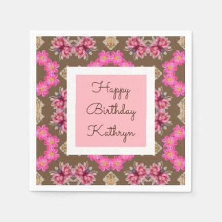 Beautiful Vintage Floral Birthday Napkin