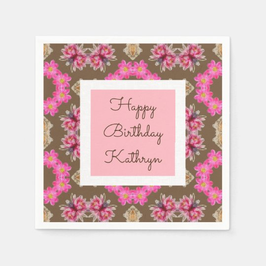 Beautiful Vintage Floral Birthday Paper Napkins