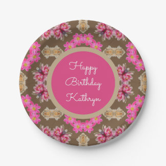 Beautiful Vintage Floral Birthday Paper Plate