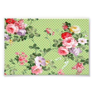 beautiful vintage floral flowers polka-dot pattern photo print