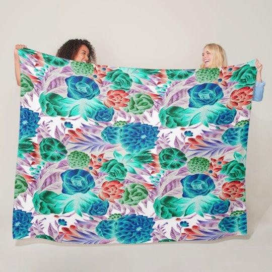 Beautiful Vintage Flowers Art Satin Quilt Fleece Blanket